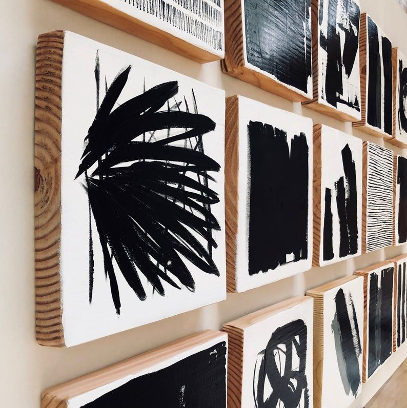 The Manhattan- Original Painted Wood Block Wall Art -Abstract Painting Wood Wall Sculpture - Commercial Art Installation - Black & White
