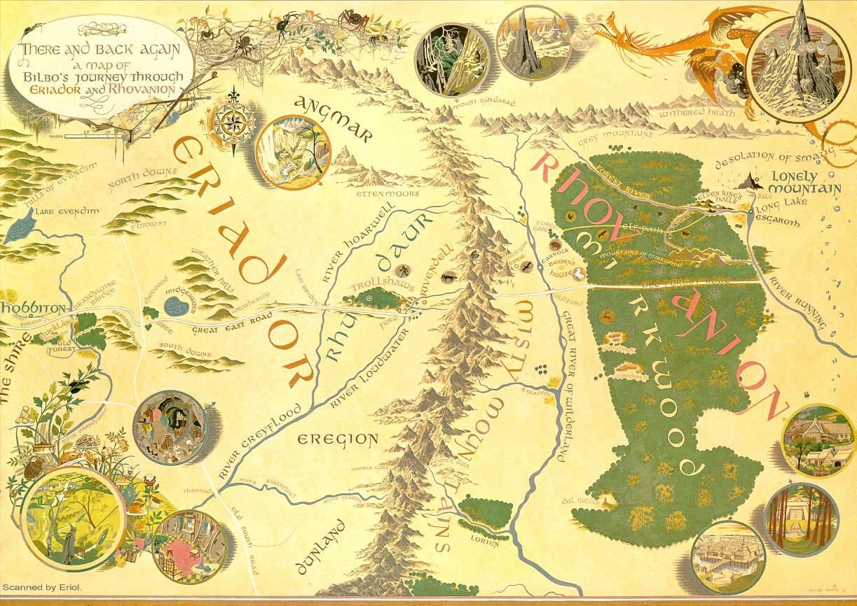 Detailed Map Middle earth Hobbit from the lonely mountain and ran to La