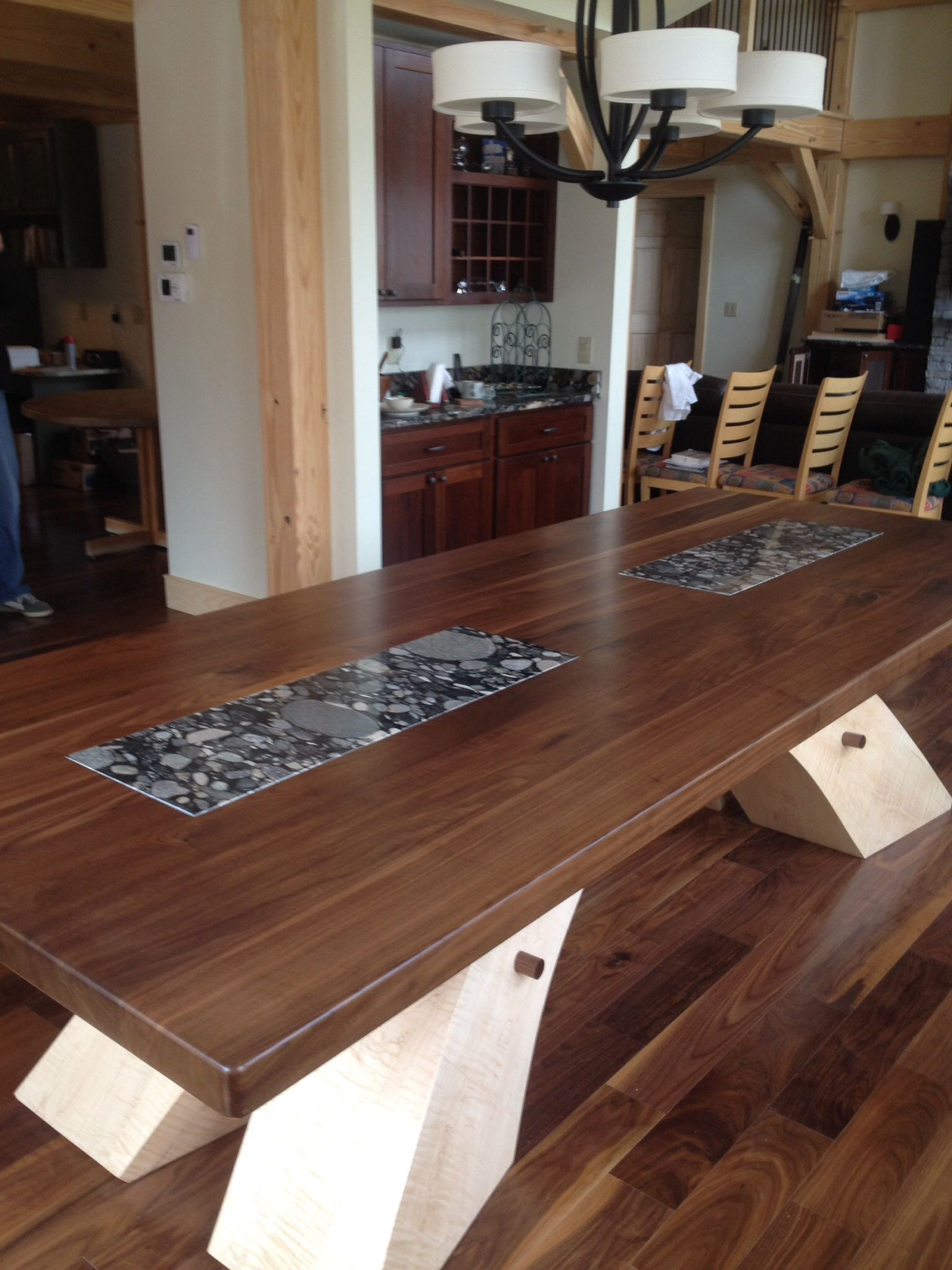Walnut Dinner Table With Arched Tiger Maple Base Granite Inlays