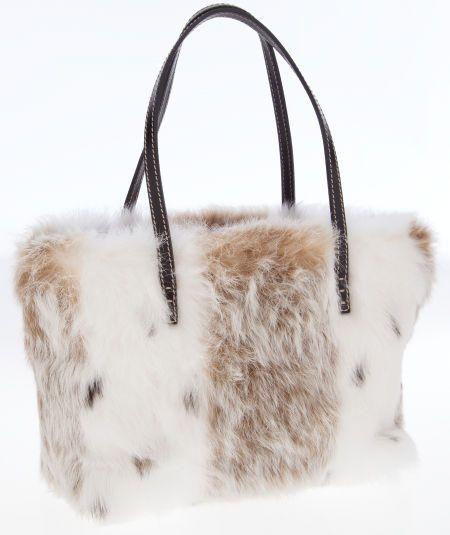 Fendi White and Brown Rabbit Fur Tote Bag.  fb1ea2f90c52b