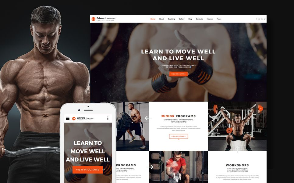 edward newman crossfit trainer multipage website template design