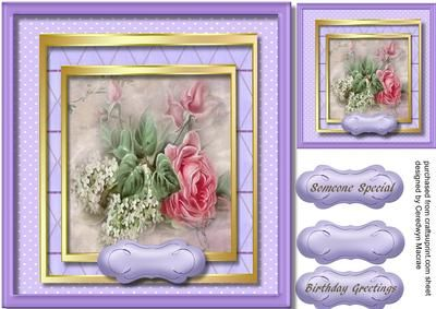 Stunning pink rose with white lilac  on Craftsuprint - Add To Basket!