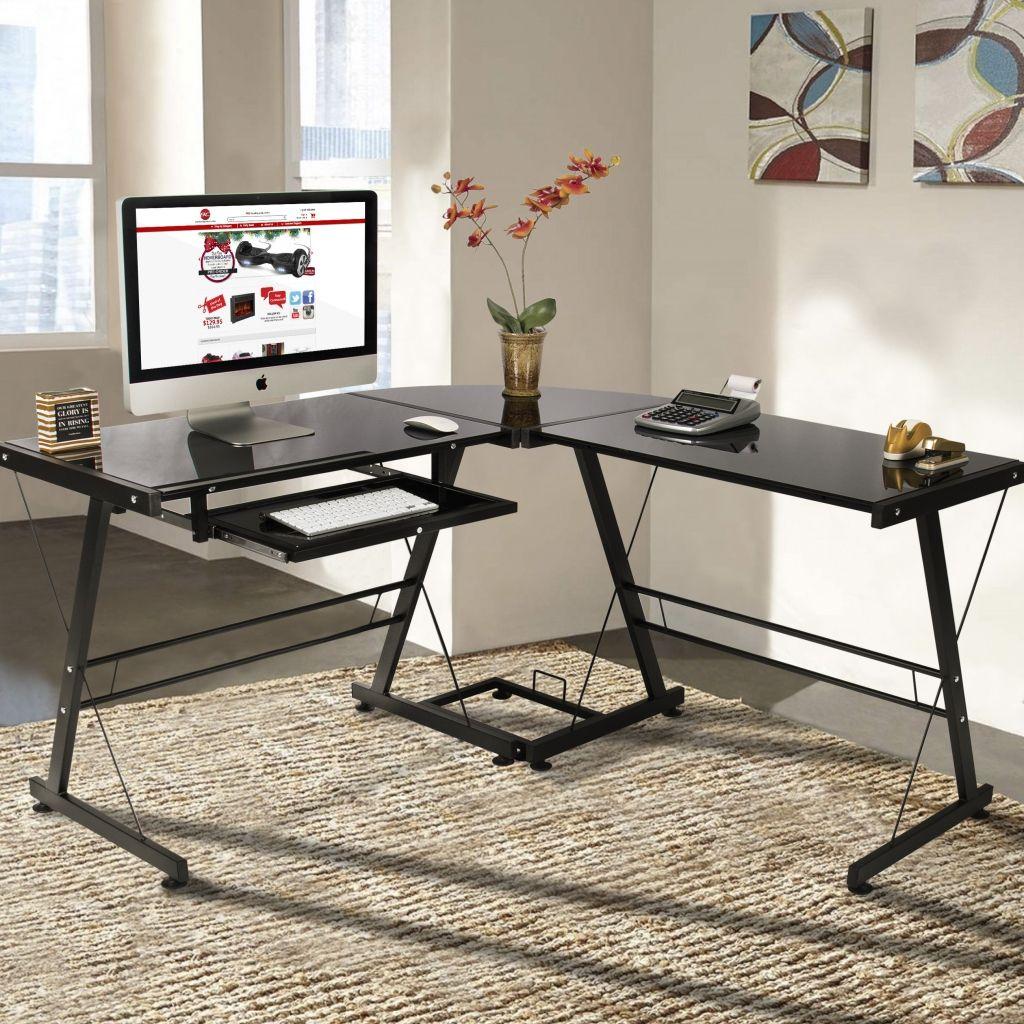 Schwarz Schreibtisch für Laptop//Computer mit Glasplatte