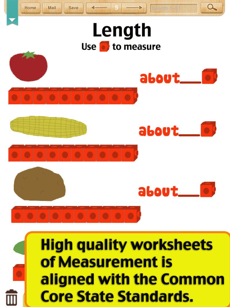 Workbooks measuring length worksheets : App Shopper: Kids Math-Measurement Worksheets(Grade 1) (Education ...