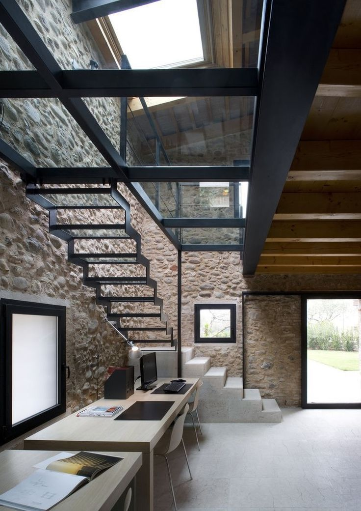 Pin This Very Modern Open Plan Home Has Used Glass For The Staircase To Allow Natural Light Coming In Through Skylight Into Both Upstairs And