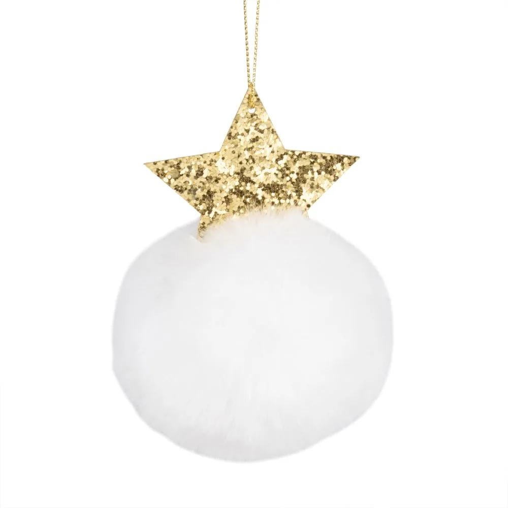 Boule de Noël pompon blanc et étoile dorée