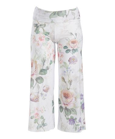 White & Pink Floral Palazzo Pants - Plus #zulily #zulilyfinds