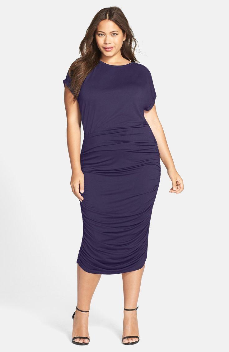 Plus Size Side Ruched Midi Dress | Plus Size Fashion | Pinterest ...