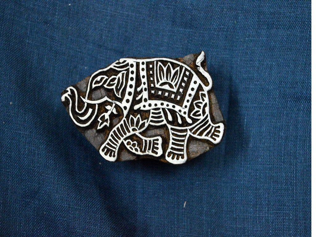 Elephant Wooden Stamp - Hand Carved Indian Wood Block - Textile Stamps - Fabric Stamp - Textile Printing Block #fabricstamping