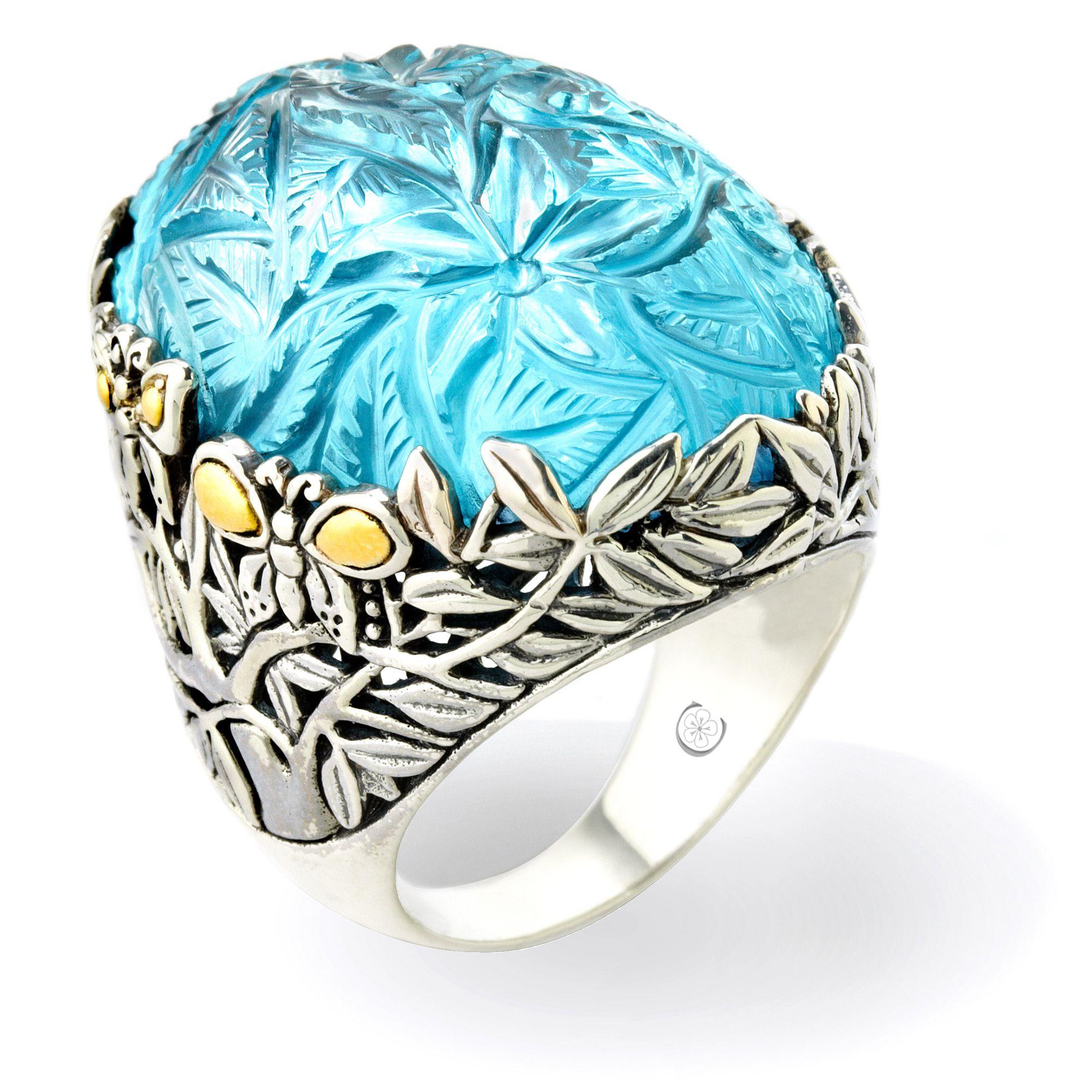 Sterling Silver and 18k Gold Hand Carved Gemstones.  R1773.SG8BT  $698