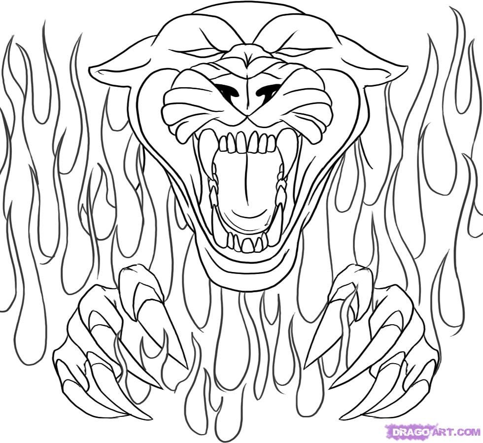 Drawing Flames Coloring Pages Panthers | School | Pinterest ...