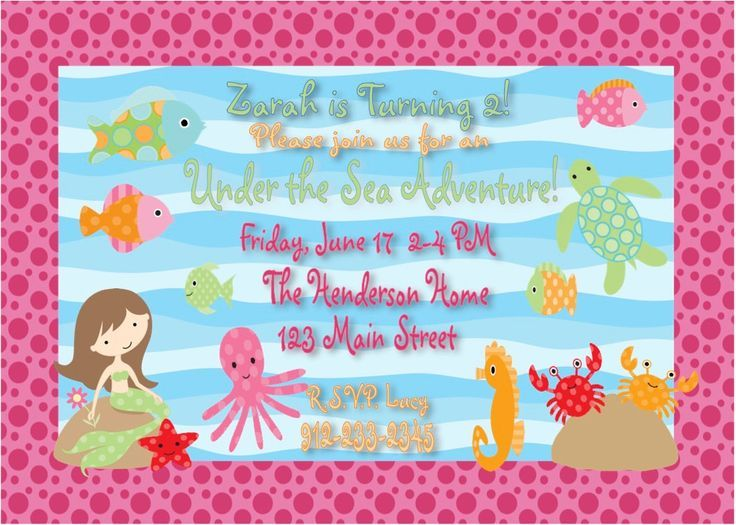 Under The Sea Birthday Invitation Wording My Pinterest