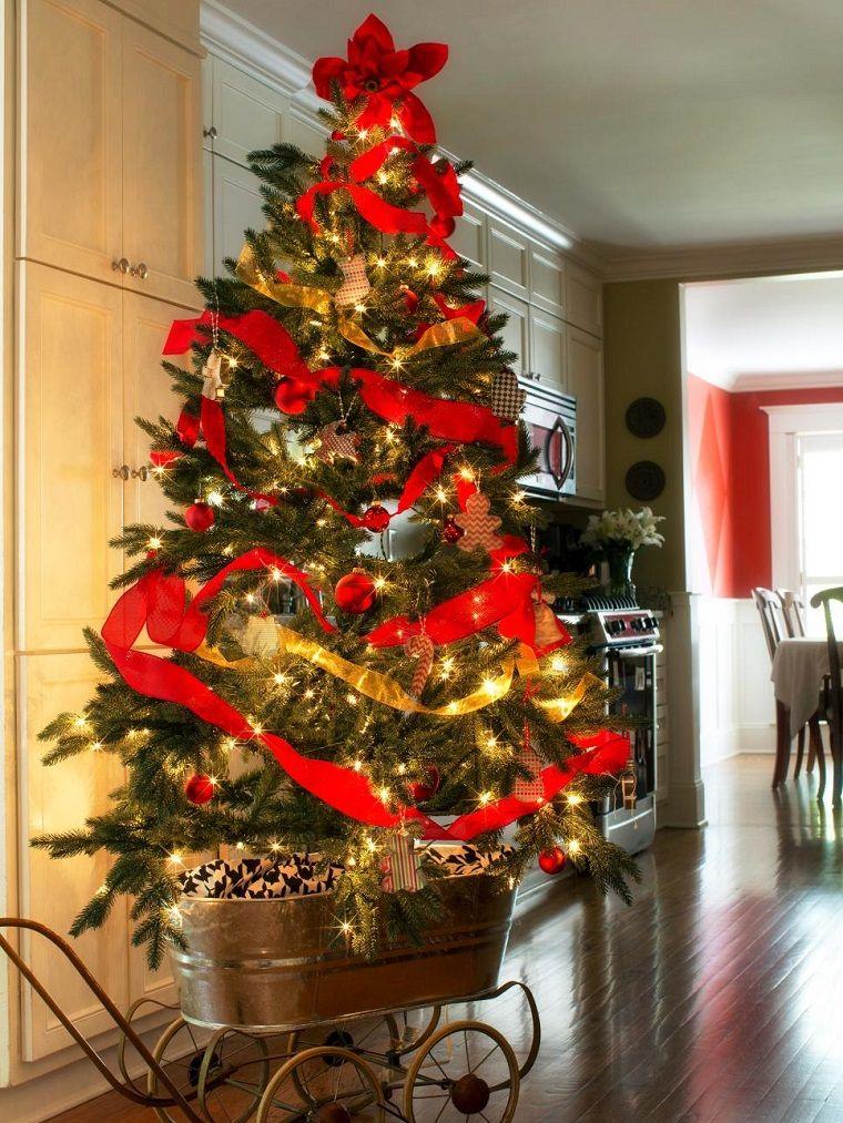 rbol de navidad puesto de carrito metalico - Como Adornar Un Arbol De Navidad