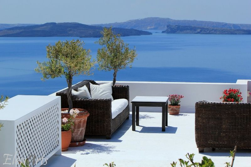 Luxury balcony at Oia, Santorini, Greece