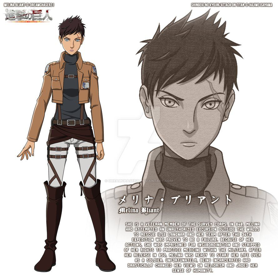 Snk aot oc melina bliant character design by for Design attack