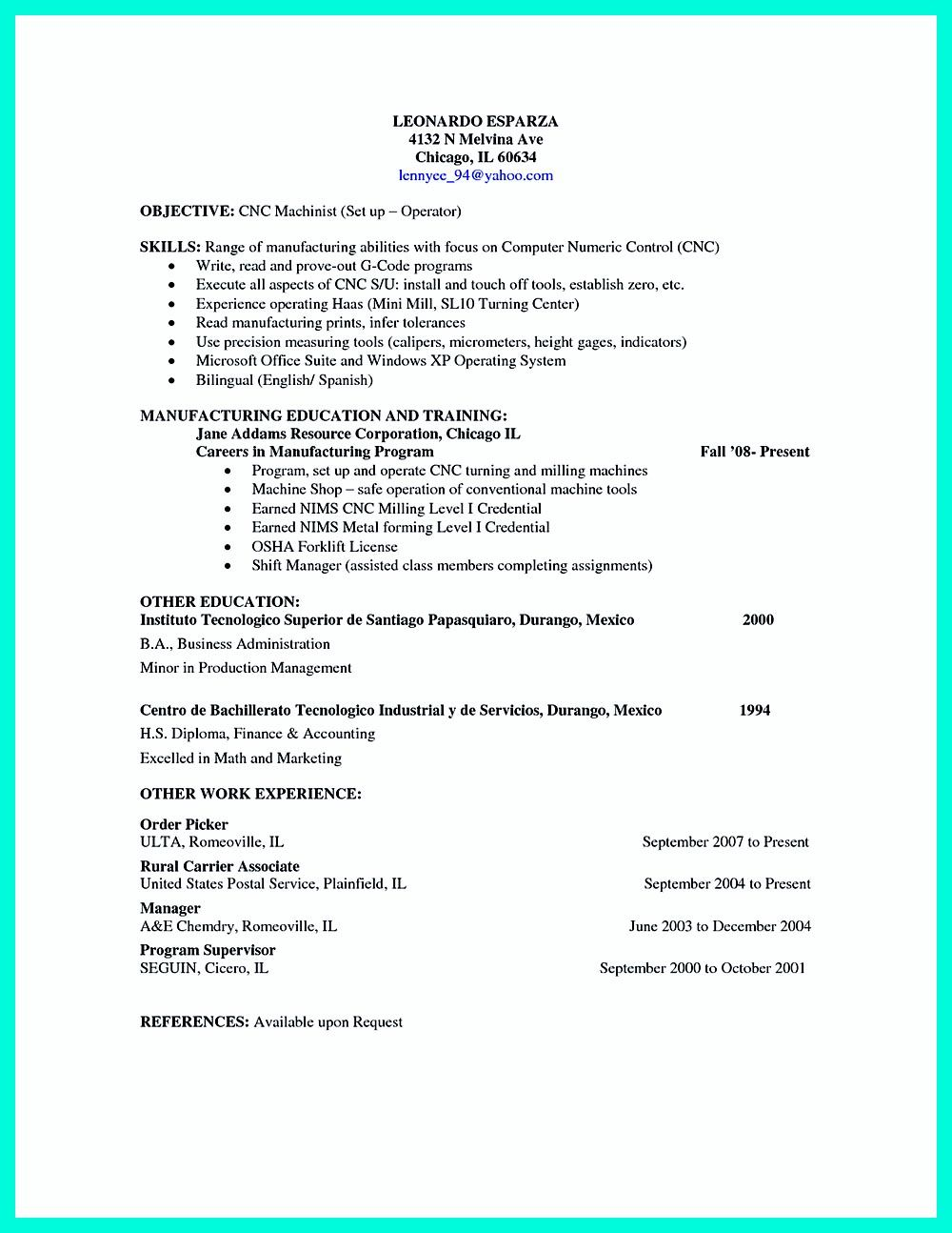 sample resume for machinist cnc machinist resume 28 templateus - Cnc Machinist Resume