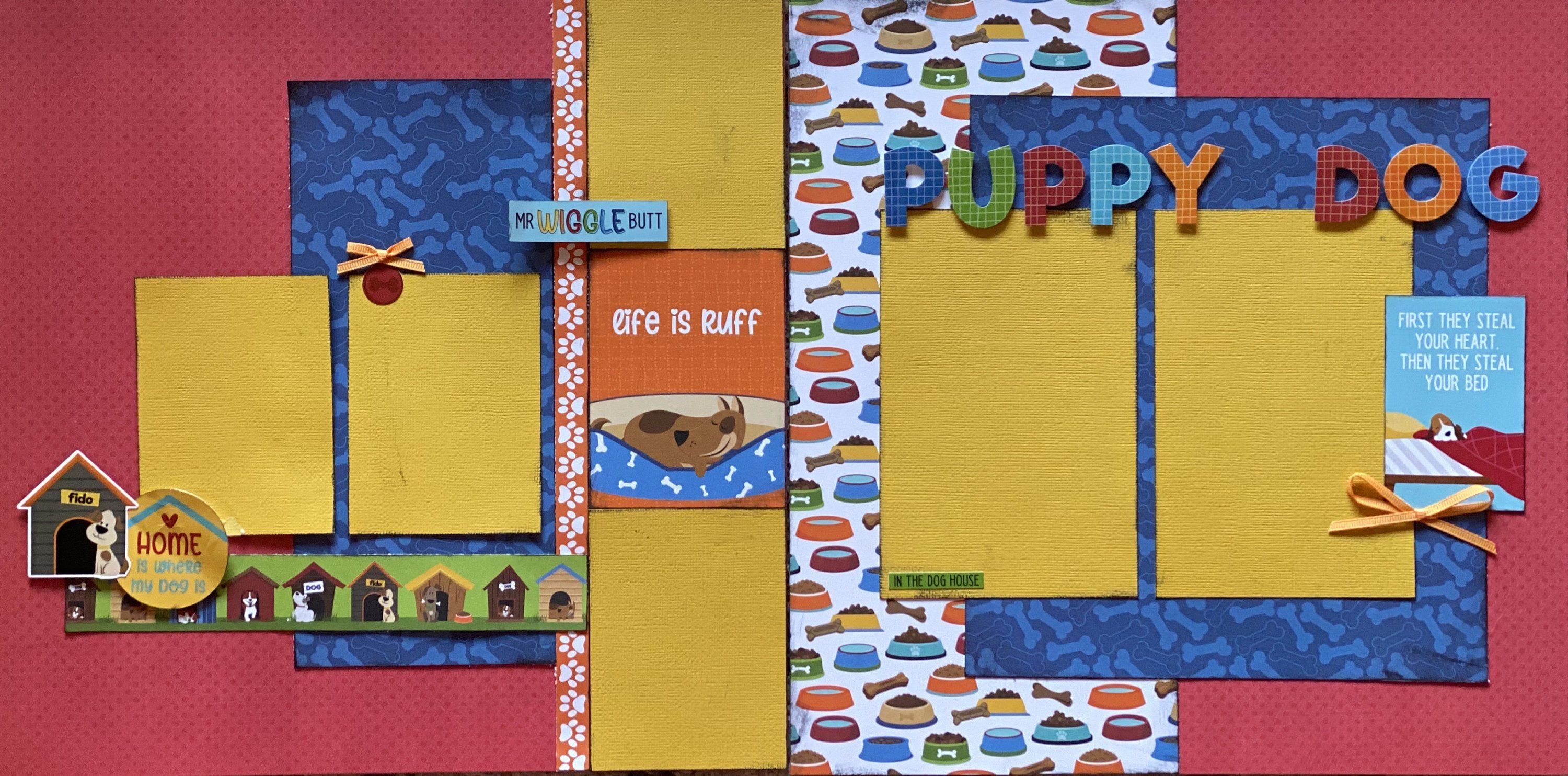Photo of Home is Where Your Dog Is, Scrapbooking 2 Page Scrapbooking Layout Kit or Premade Scrapbooking Page, DIY Dog  Craft kit – DIY Assembly