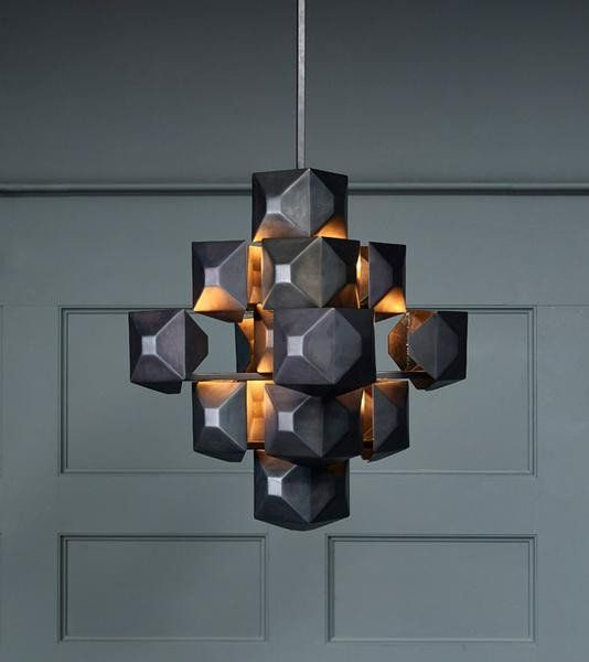 . 3 Squared Chandelier  Black   Modern Lighting   Lighting design
