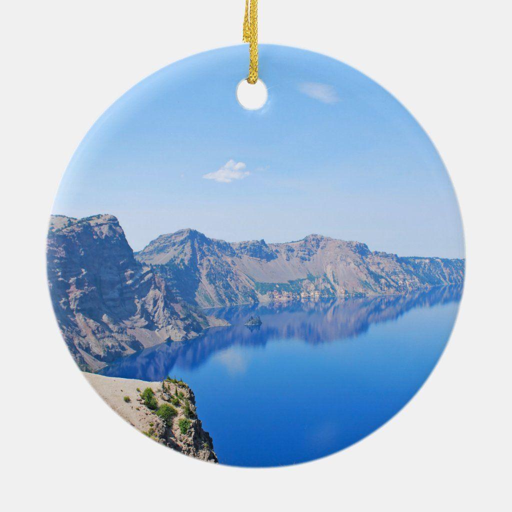Panorama Crater Lake Ceramic Ornament