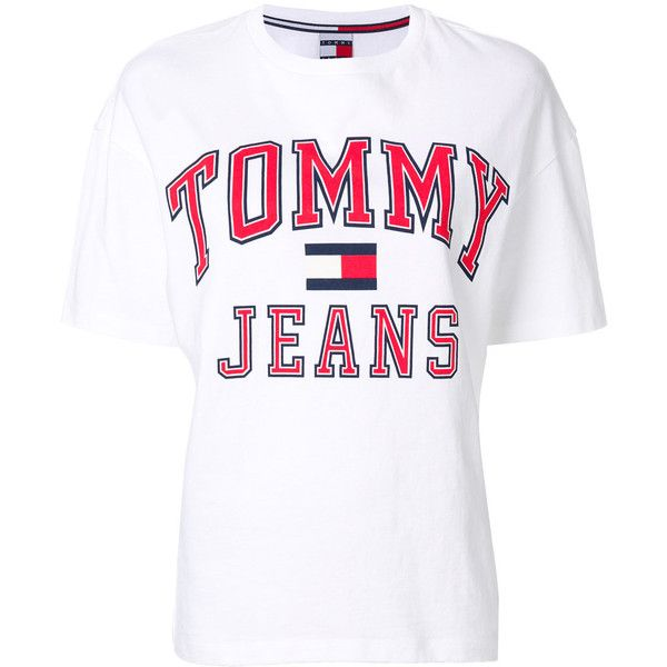 3ac3e794eabc Tommy Jeans logo T-shirt ($54) â ¤ liked on Polyvore featuring tops,