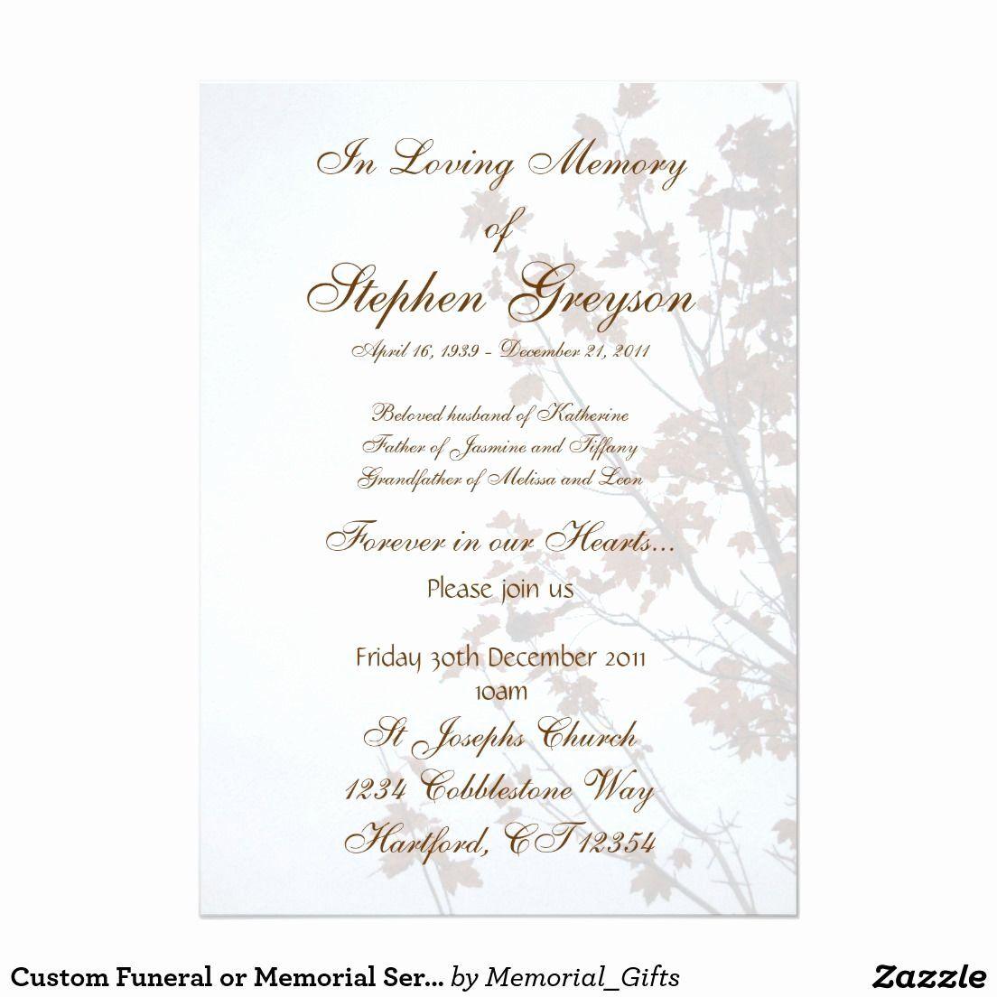 Memorial Service Invitation Template Free Luxury Custom Funeral Or Memorial Service Announce Funeral Invitation Memorial Service Invitation Invitation Template