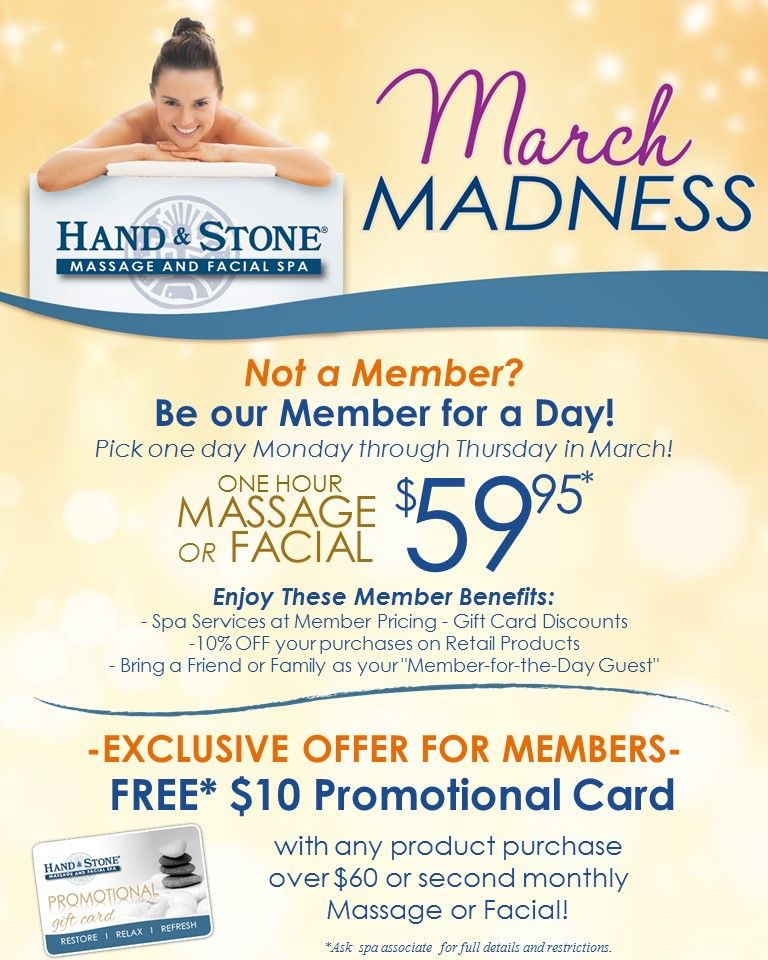 March Madness at Hand & Stone! Not a Member? Be our member