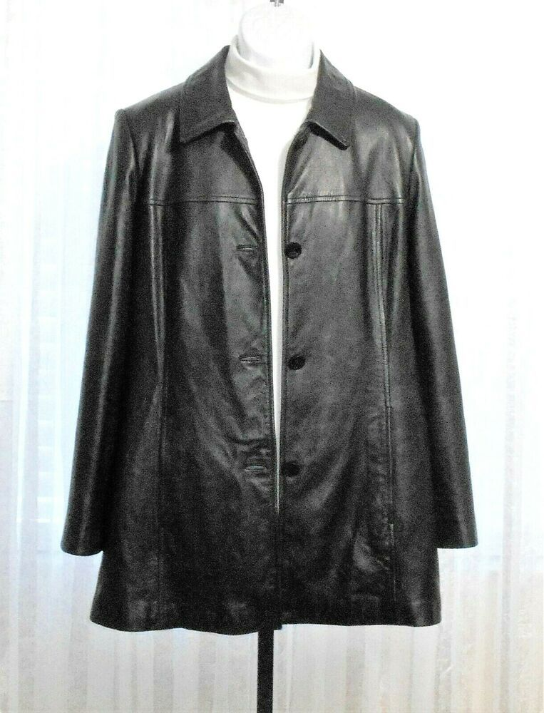 Wilsons Leather Pelle Studio Black Leather Button Front