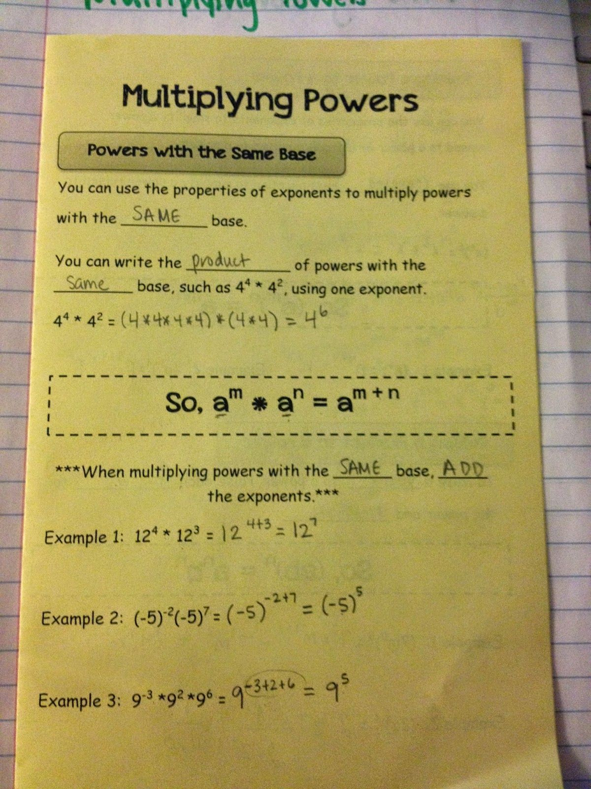 Making Mathematics Magical Rules Of Exponents Interactive Notebook Page Interactive Notebooks High School Math Interactive Notebooks Math Interactive Notebook