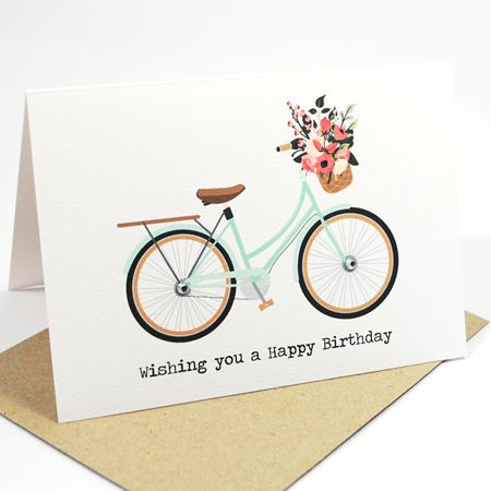 Coral and Mint Bicycle with FlowersHandmade Card Australia – Birthday Card Australia