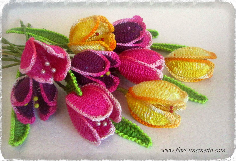 Fiori Alluncinetto.Fiori All Uncinetto Tulipani Crochet Flowers Crochet Bouquet