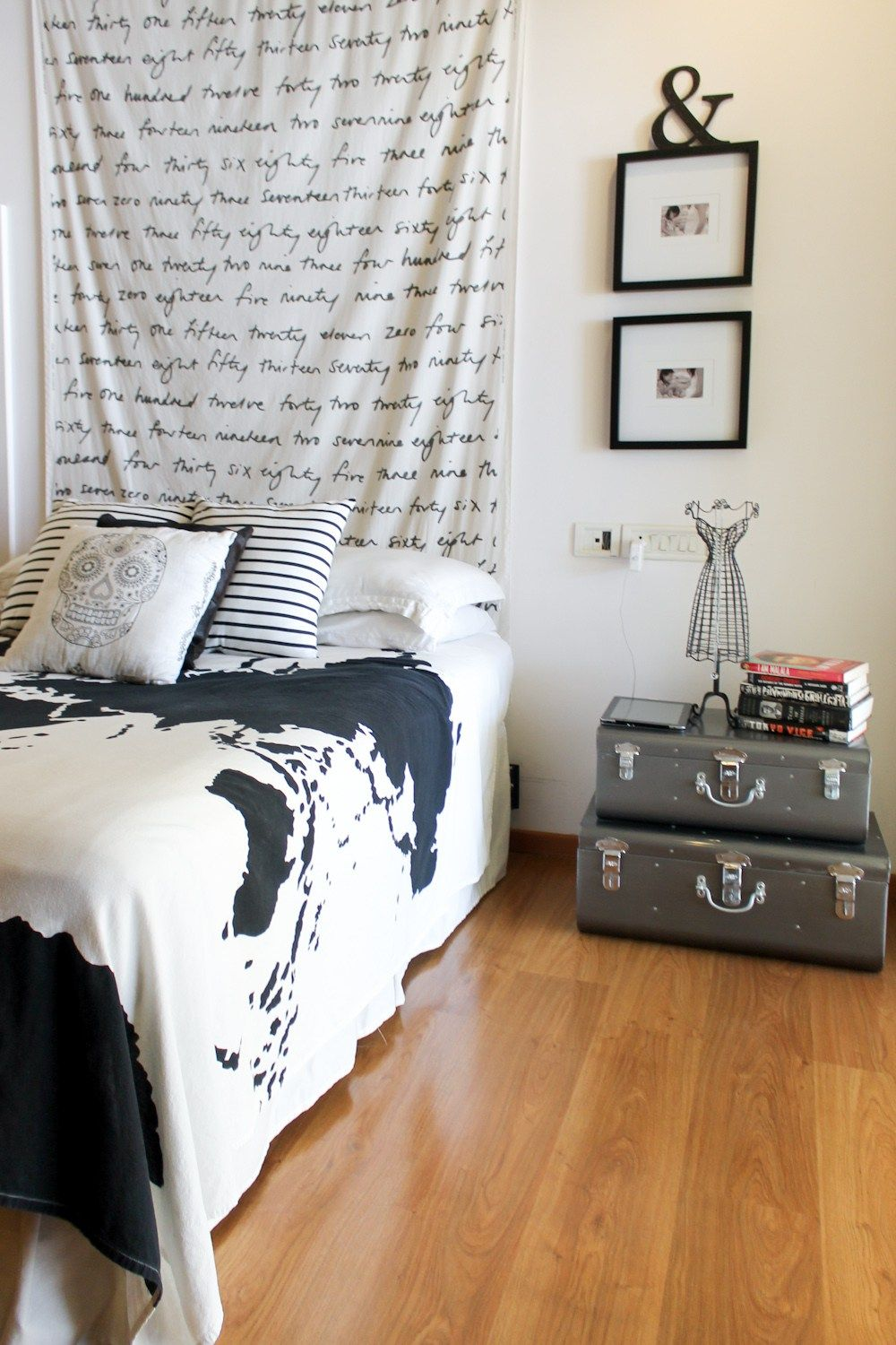 black & white bedroom with ikea fabric, urban outfitters world map