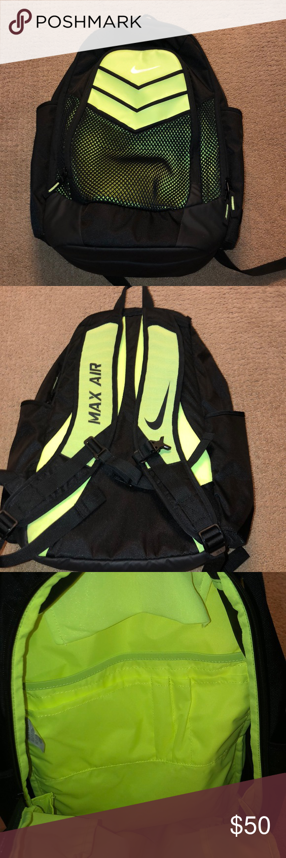 7a9523abce Nike backpack This is a neon yellow and black max air backpack. I have barely  used it and it is in good shape. Nike Bags Backpacks
