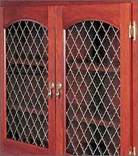 Rockler Woven Cabinet Inserts In 5 Diffe Materials Looks Cherry Wood Stain Wire Mesh