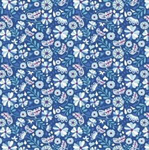 Puuvilla: Perhosia ja kukkia sininen