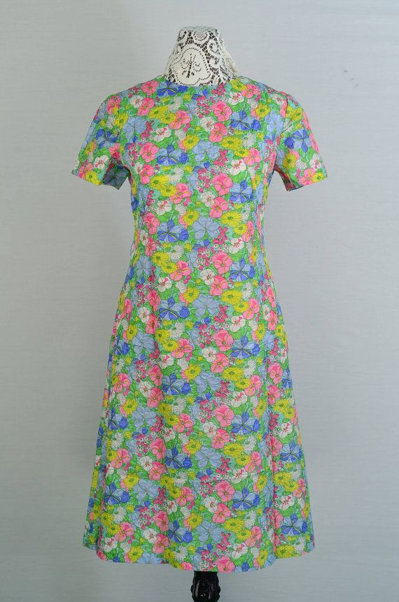 1960s Floral Satin Day Dress  Medium by 86CharlotteStreet on Etsy, $49.99