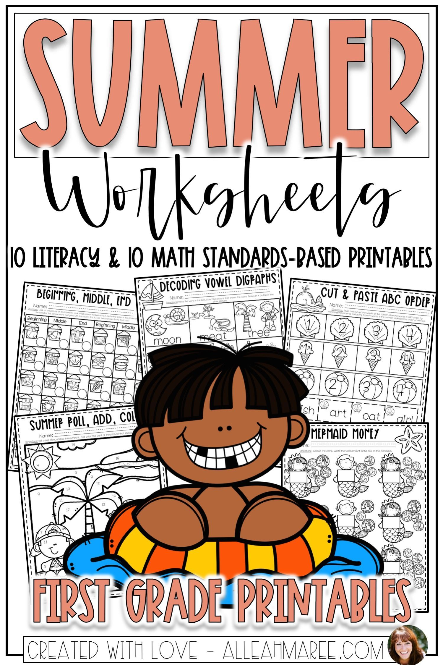 Summer Worksheets For First Grade Literacy And Math