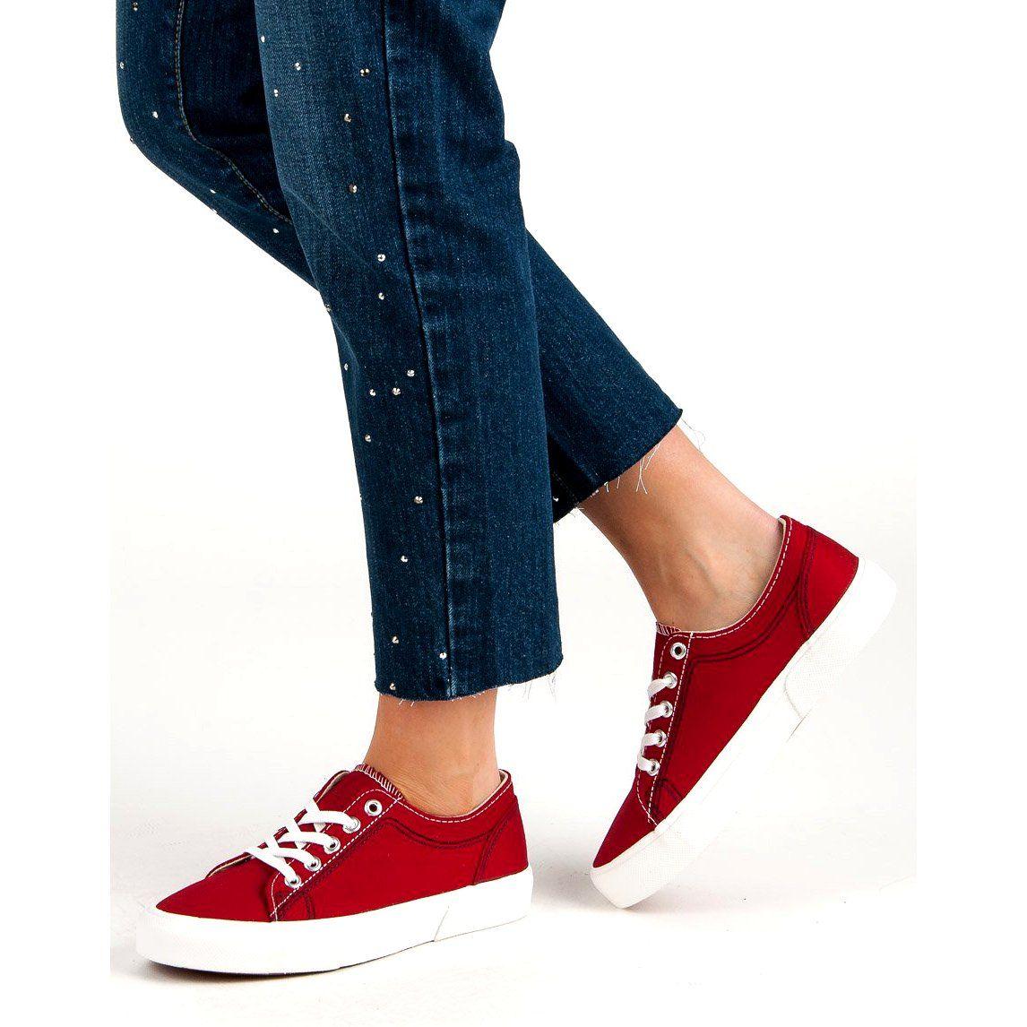Kylie Czerwone Tenisowki Red Sneakers Sneakers Trainers Women