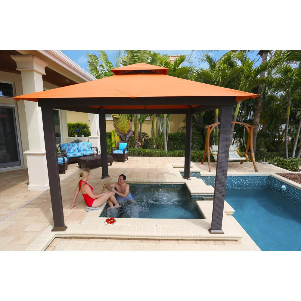Paragon Outdoor Paragon Outdoor 10 Ft X 10 Ft Gazebo With Rust Sunbrella Canopy Gz634sr The Home Depot Modern Gazebo Outdoor Gazebos Patio Gazebo