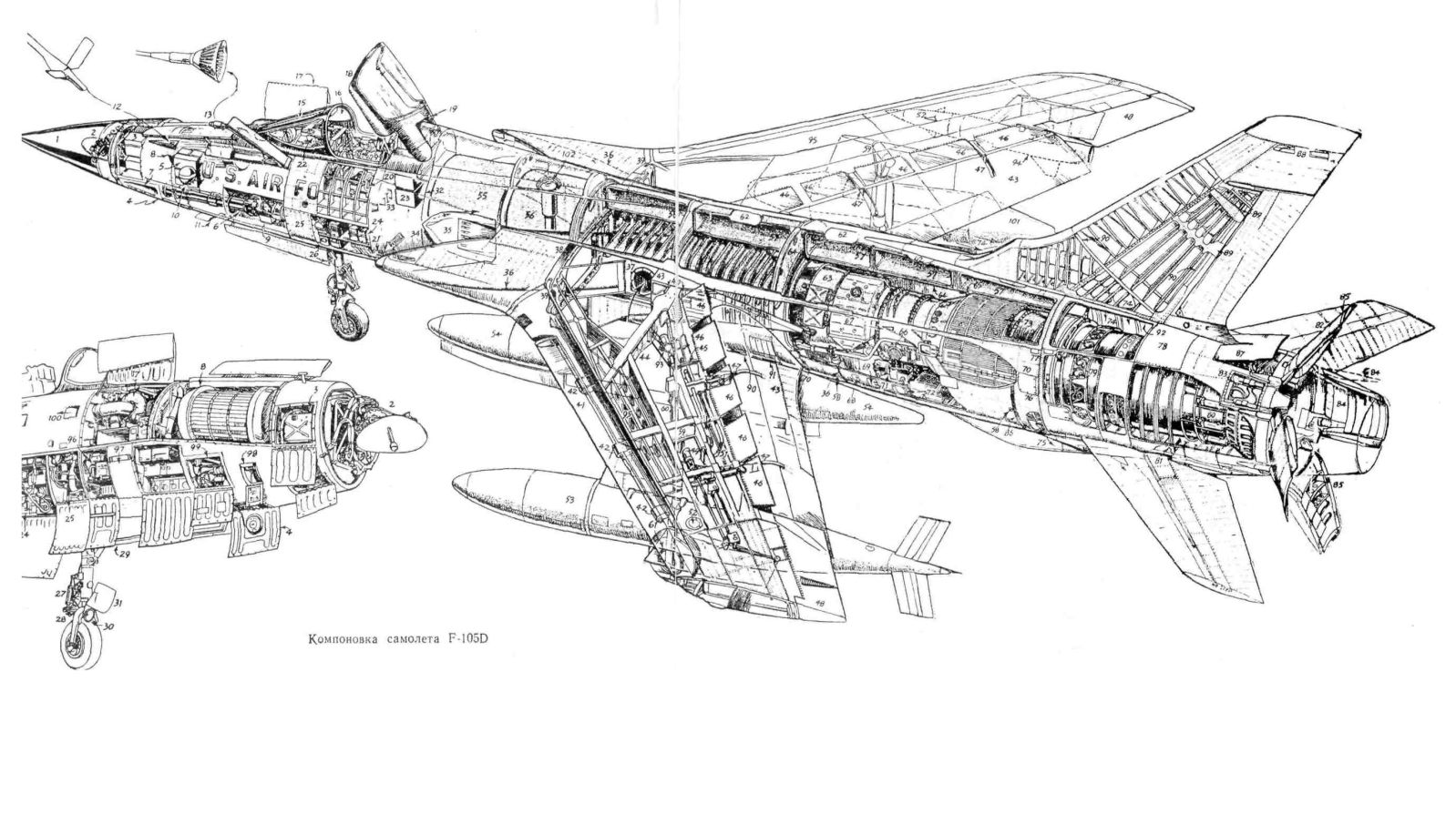 Republic F-105 Thunderchief | Diagrams and Cutaways | Aircraft ...