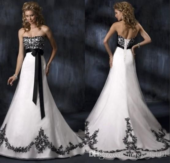 vintage black and white wedding dresses
