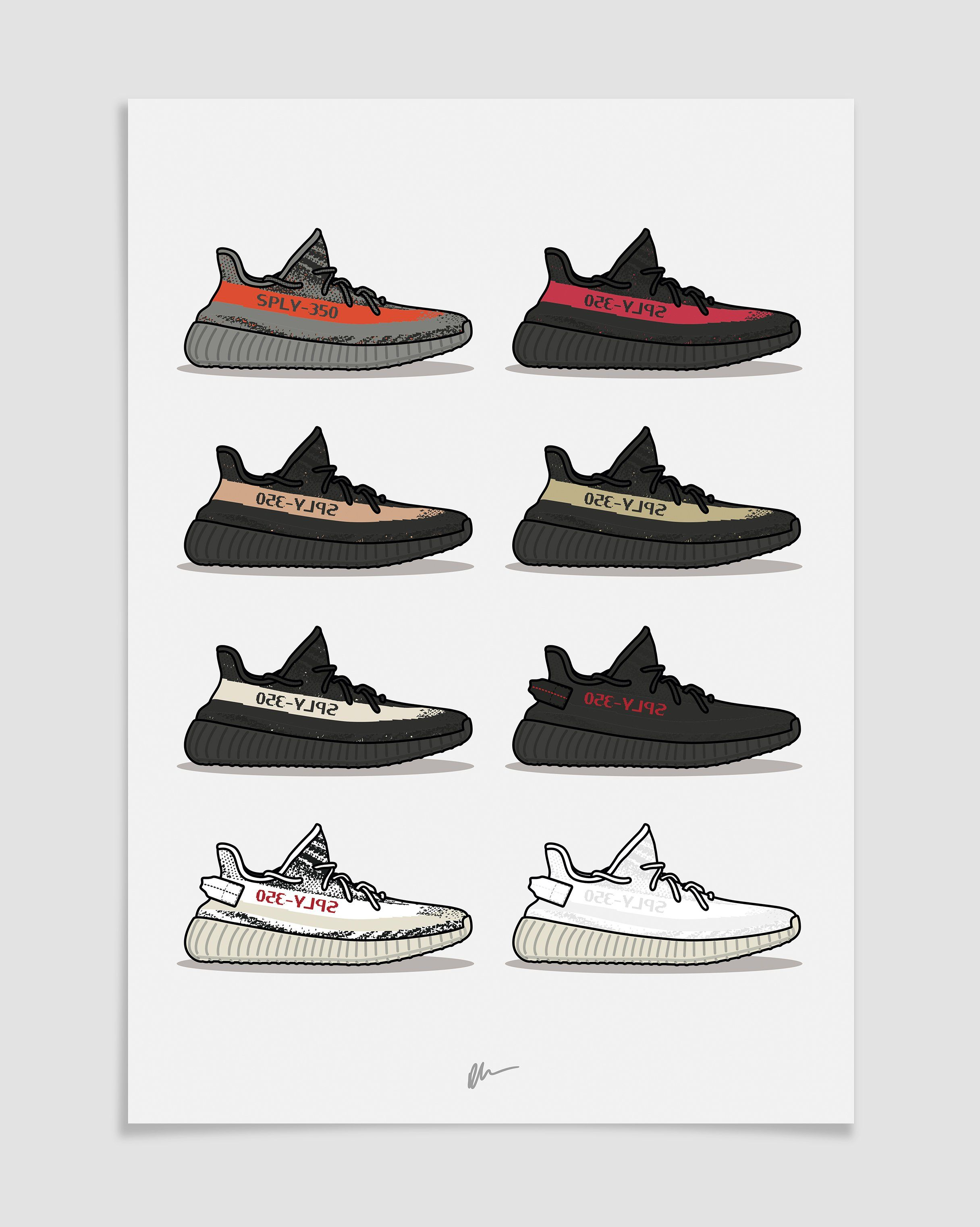 Originally Created Yeezy 350 V1 Vs 350 V2 Illustration The Ideal For The Home Or Office Ideal For Sneake Hypebeast Wallpaper Hype Wallpaper Sneakers Wallpaper