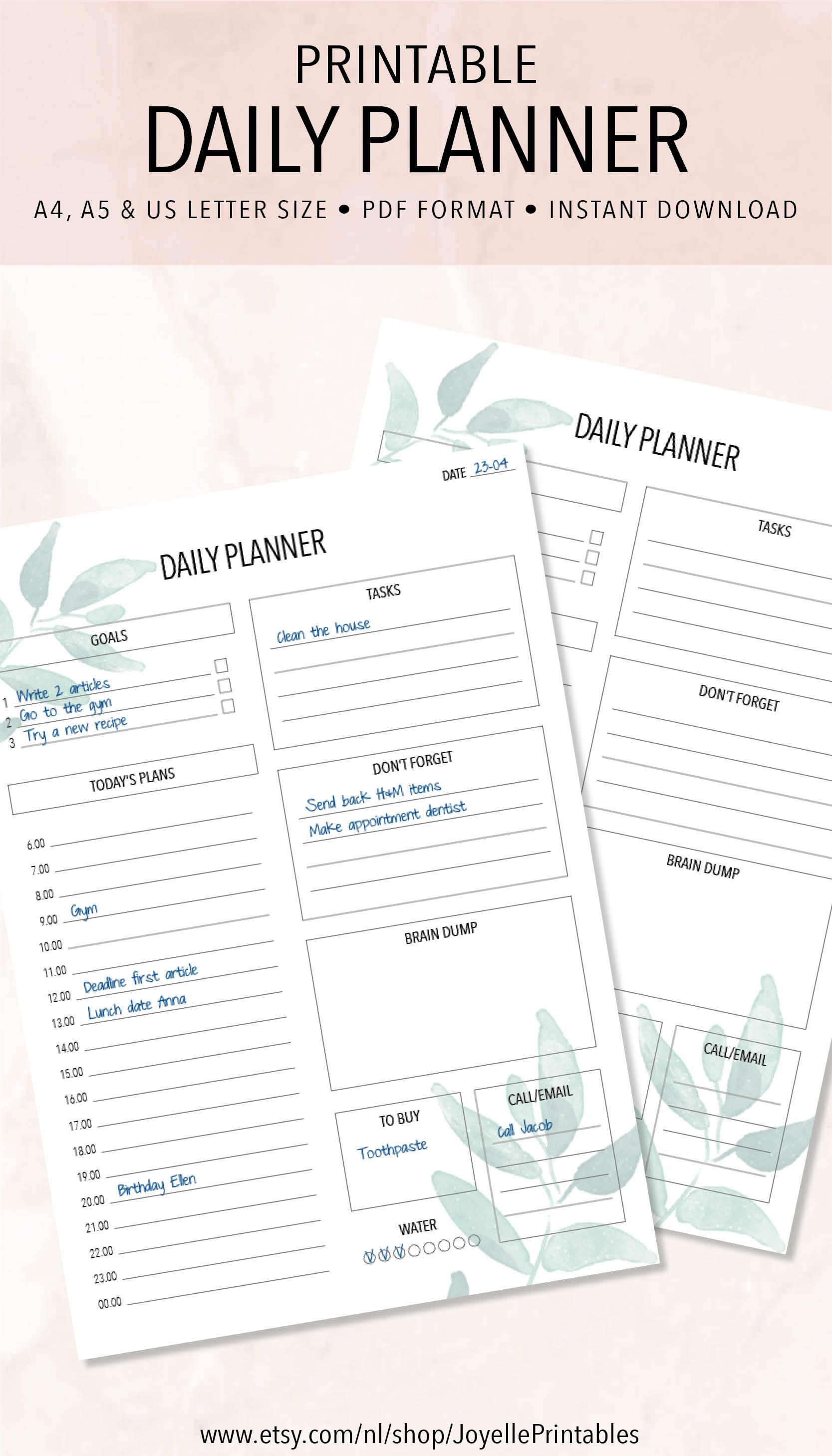 printable daily planner work planner this planner will help you organize your days and accomplish your goals httpswwwetsycomshopjoyelleprintables