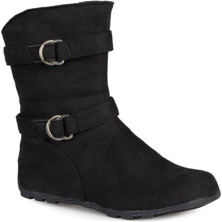 Brinley Co Kids Girl's Buckle and Strap Accent Mid-calf Boots, Size: 12, Black