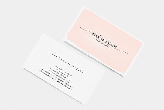 Pink Business Card Template Calligraphy Business Card Printable