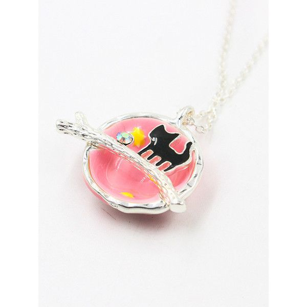 pink crystal and cat detail galaxy precious pendant necklace 725 rub a liked on