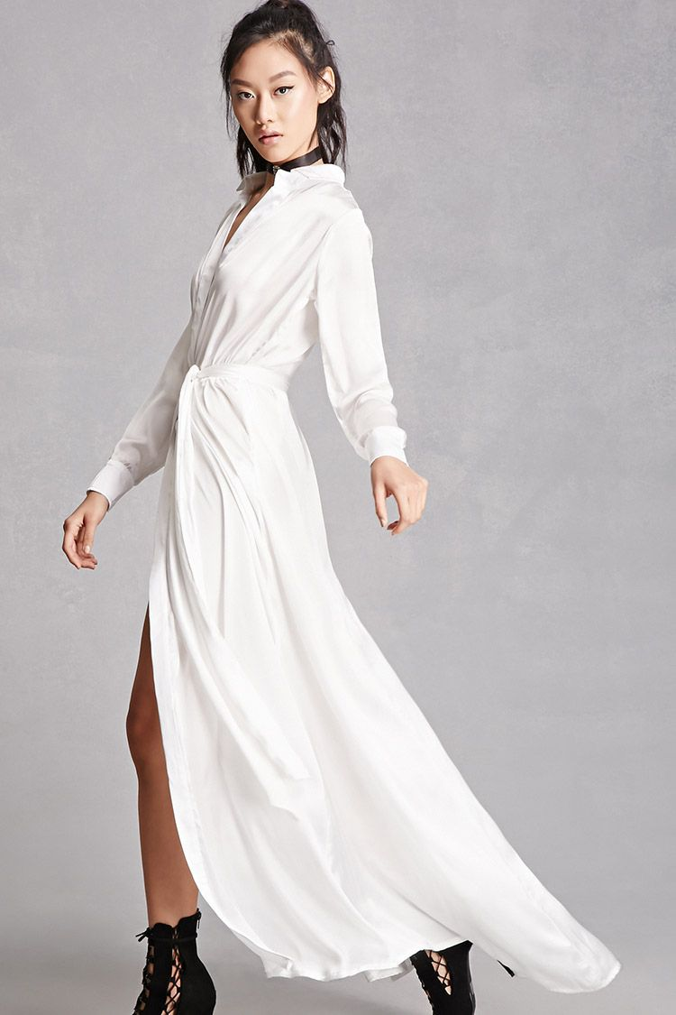 White long sleeve dress maxi satin