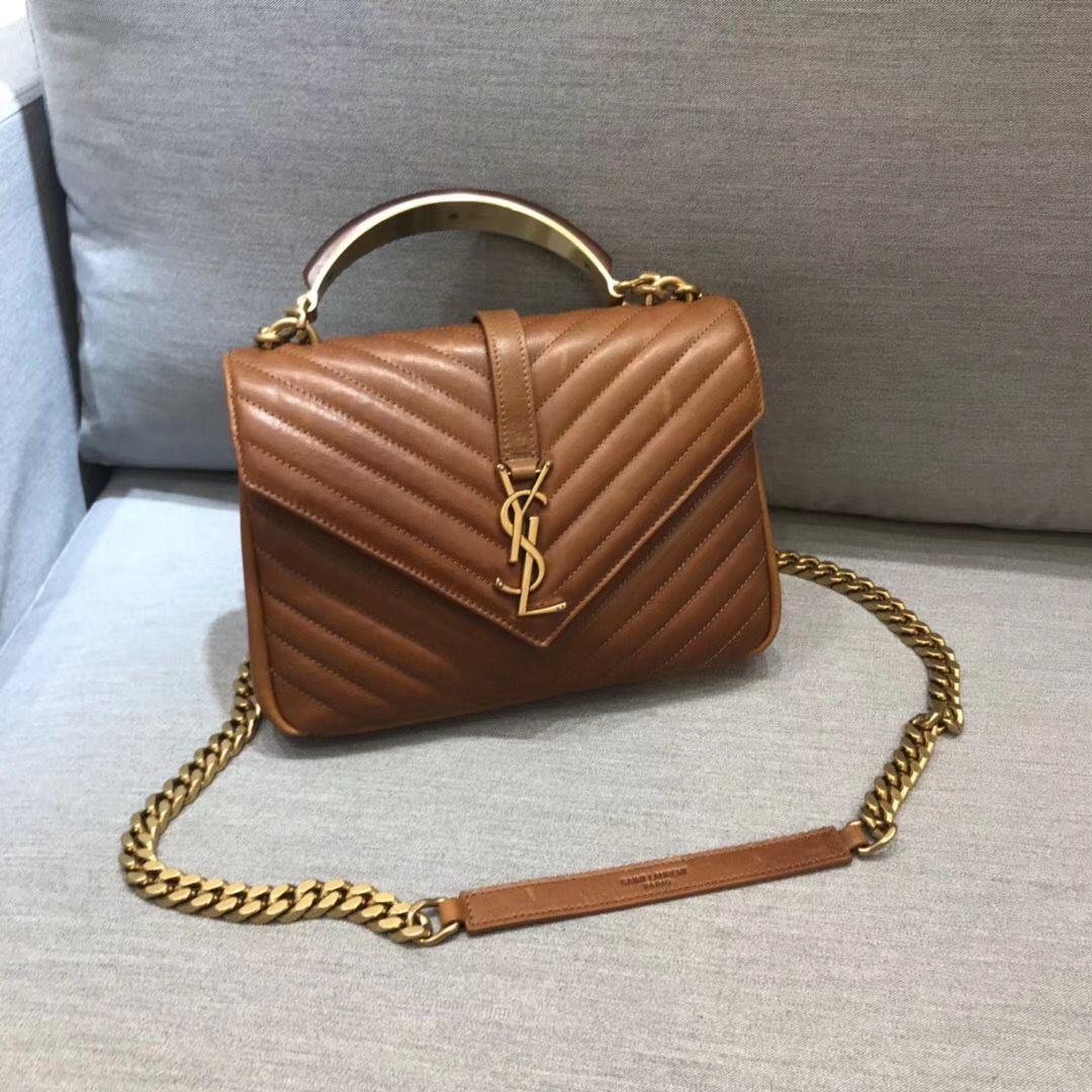 41bc35a7de1 Ysl Saint Laurent woman college chain flap bag with wood handles original  leather version