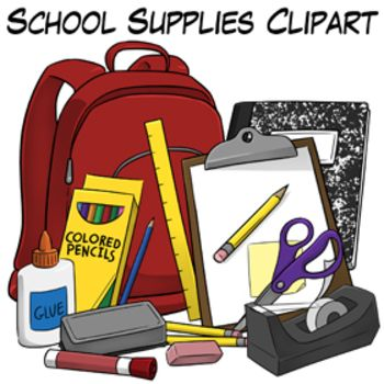 School Supplies Clip Art With Images Classroom Clipart Art