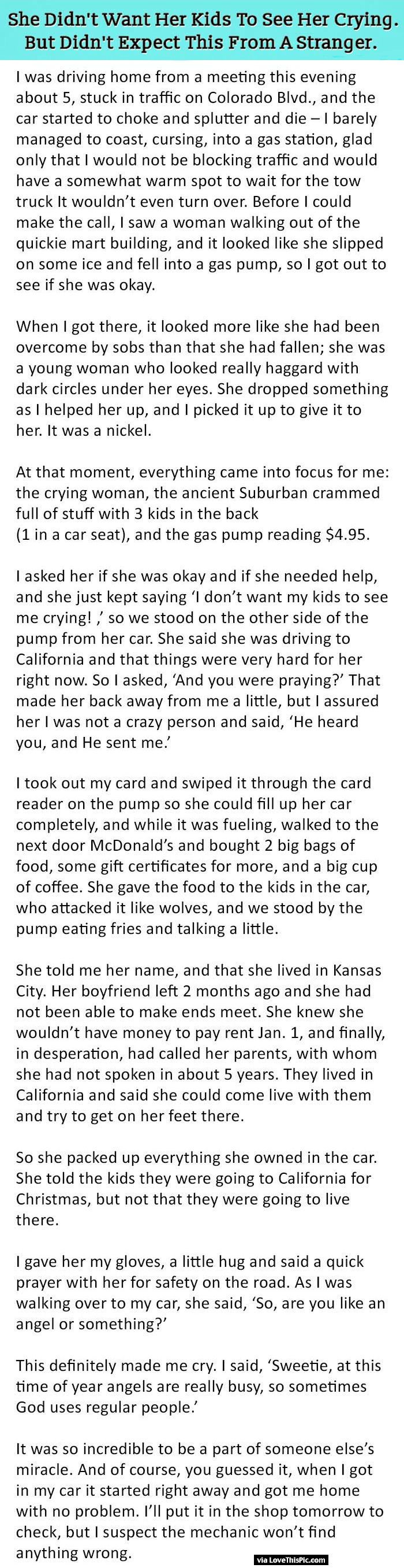 She did not want her kids to see her crying but never expected she did not want her kids to see her crying but never expected this from a stranger moms kids people mom parents amazing story children parenting robcynllc Images