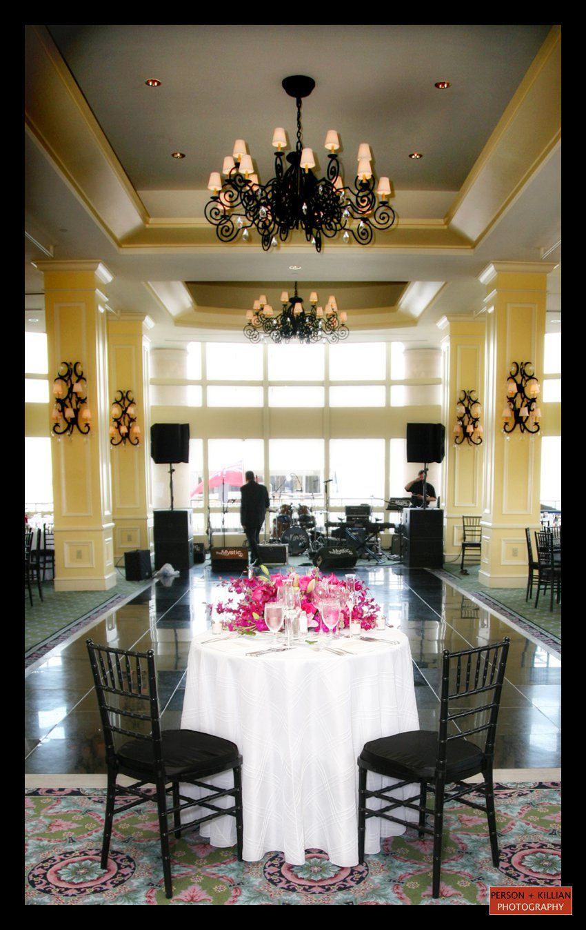 Pink And Black Wedding Reception In The Boston Harbor Hotel Wharf Room Venues